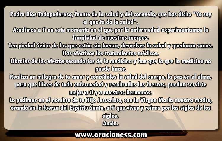 oraciones de sanación para los enfermos
