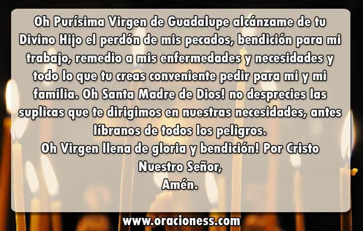 oraciones a la virgen de guadalupe para pedir un favor